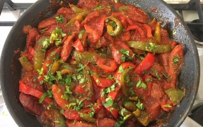 Greek Spetzofai – Sausages and Peppers in Tomato Sauce